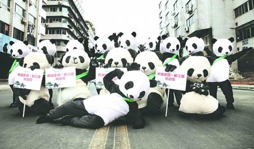 成都春熙路大熊猫;