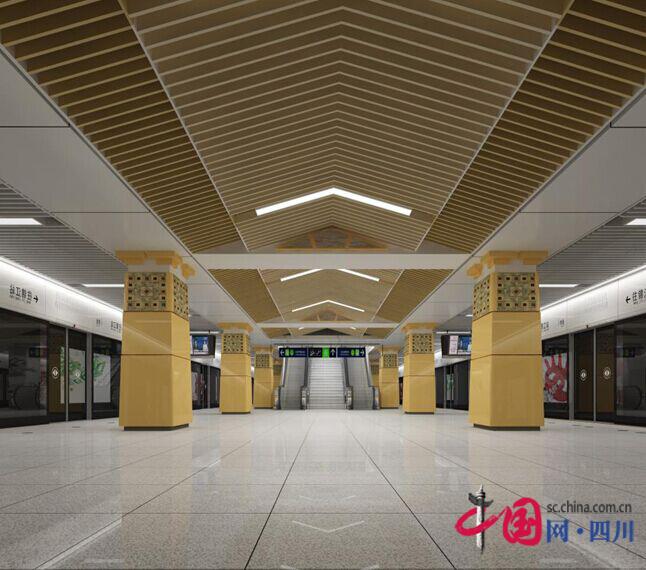 柱面為仿漢闕造型的設計語言,天花為抽象的房屋屋檐