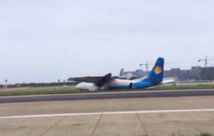 福州长乐国际机场一飞机冲出跑道 消防车已赶到