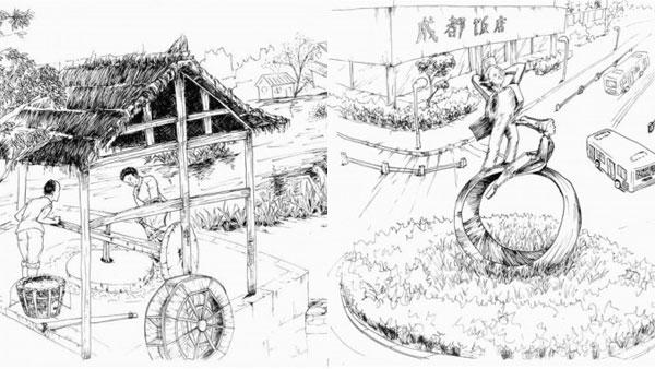 90后女大学生手绘成都百年水碾河