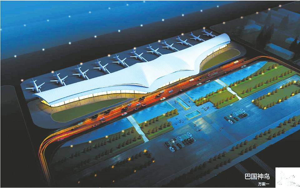 """经专家综合评定的航站楼设计参考方案——巴国神鸟。   2016年10月31日,项目估算投资18.84亿元的达州机场迁建工程正式开工。时隔4个多月后,这个位于达川区石板镇""""观音沟""""的达州新机场,项目建设现场是一片热火朝天的景象,航站楼的设计方案目前正在抓紧确定。按照计划,新机场将于2018年底建成通航。   新机场建成后,力争到2020年开通16条国内航线,本期工程的旅客吞吐量可达84万人次,货邮吞吐量可达8000吨。届时,达州与万州、陕西以及川东北城市群的"""