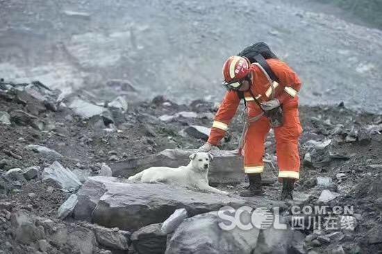 救援队在茂县山体垮塌现场搜救幸存者
